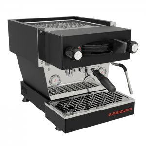 La Marzocco Linea Mini barista style coffee machine 1 group black and silver model right side view