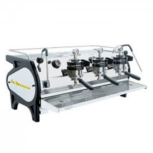 La Marzocco Strada MP 3 group espresso machine side view silver and black model
