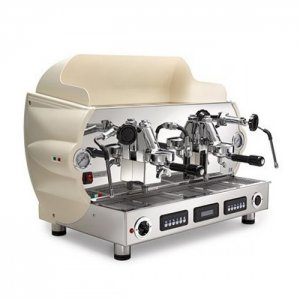 La Nuova Era Altea Maxi 2 group espresso machine side view cream and chrome model