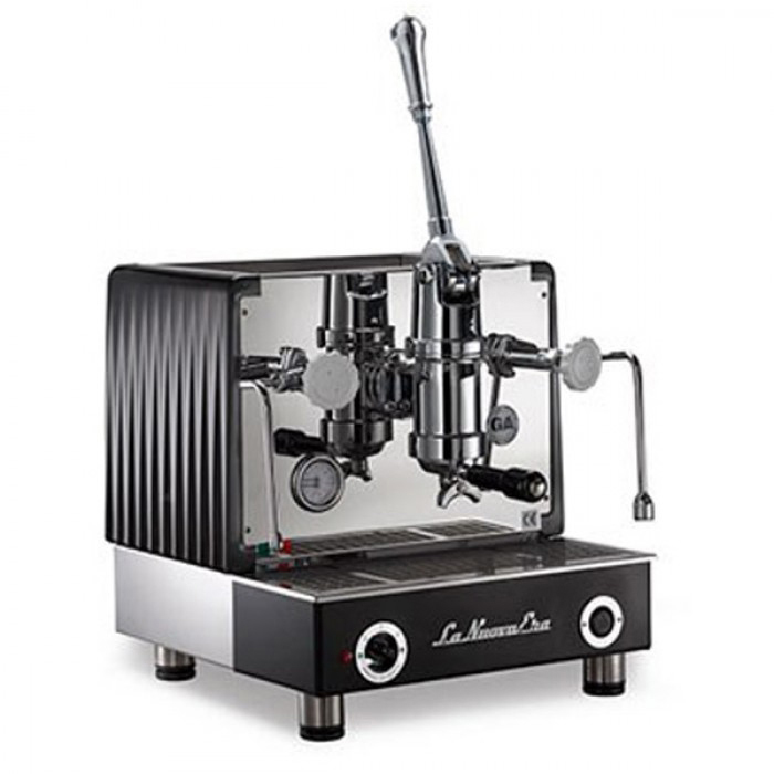 La Nuova Era Arabika 1 group espresso machine side view black and silver model