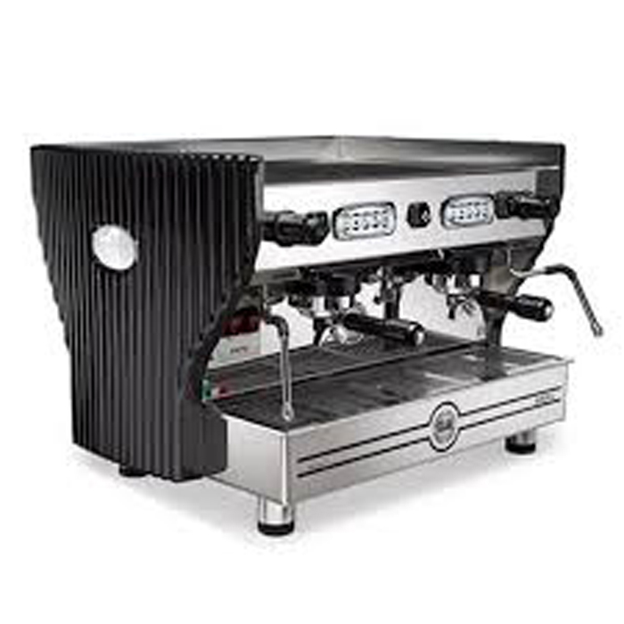 La Nuova Era Arpa Lux 2 group espresso machine side Vvew black and silver model