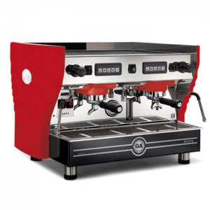 La Nuova Era Arpa espresso machine 2 group red silver and black model right side view