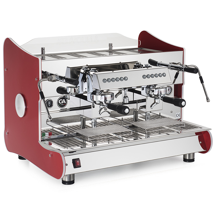 La Nuova Era Artika 2 group espresso machine side view red and chrome model