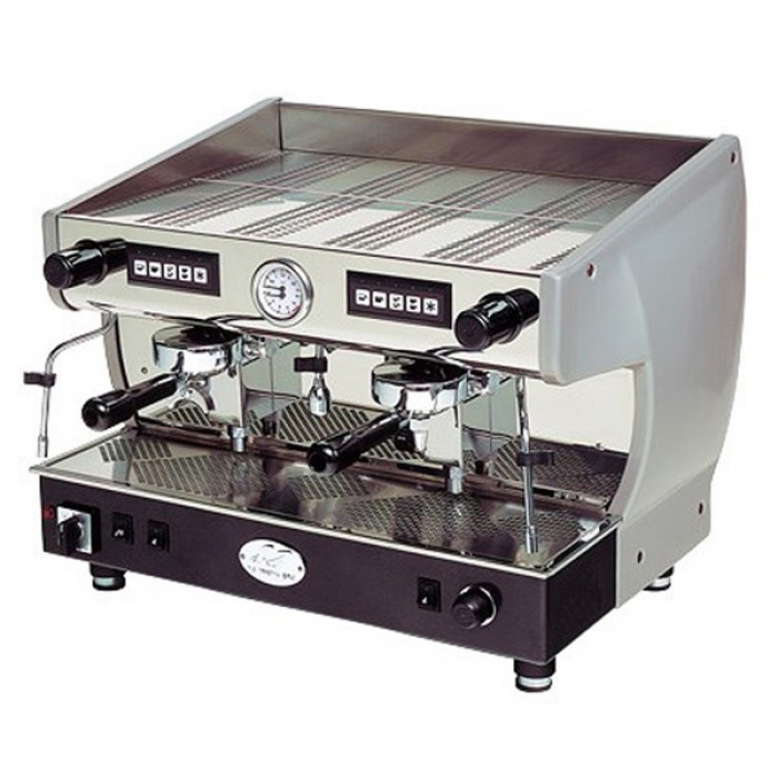 La Nuova Era Aurora 2 group espresso machine left side view chrome and black model