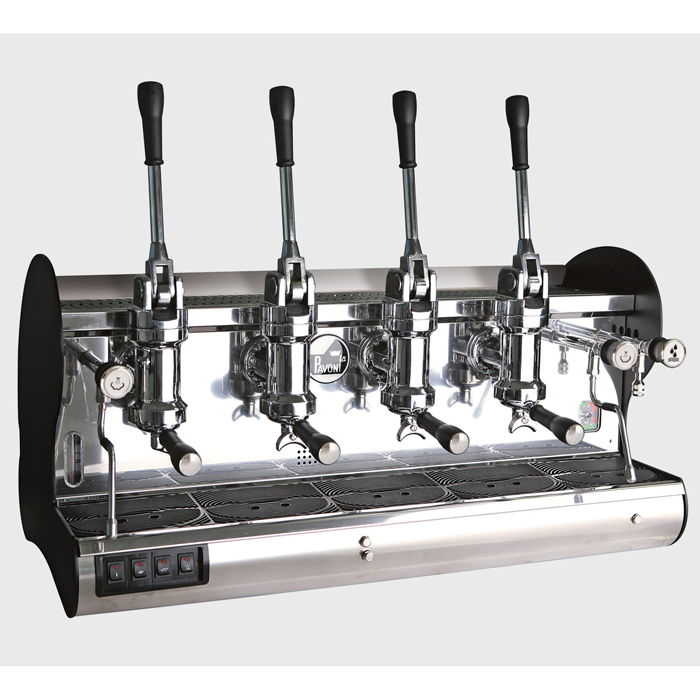 La Pavoni Bar hard L barista style coffee machine 4 group black and silver model right side view
