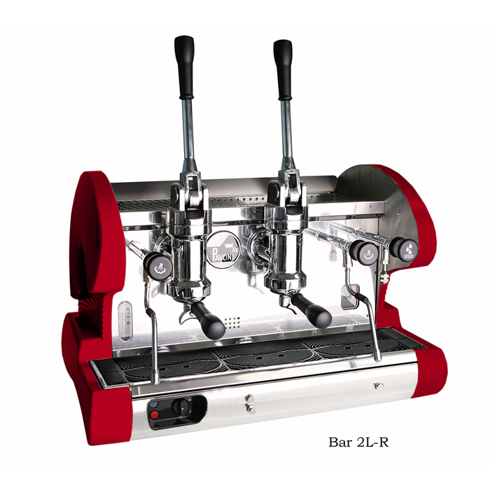 La Pavoni Bar L 2 group espresso machine right side view red and chrome model