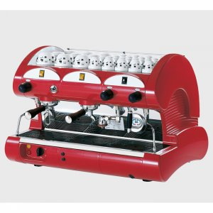 La Pavoni Bar M 2 group espresso machine side view red model