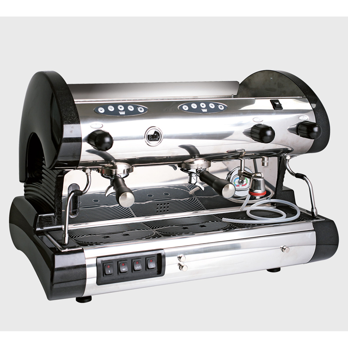 La Pavoni Bar Revolution V 2 group espresso machine right side view chrome and black model
