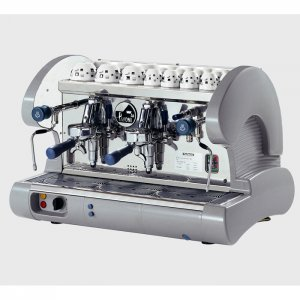 La Pavoni Bar S 2 group espresso machine side view grey and silver model