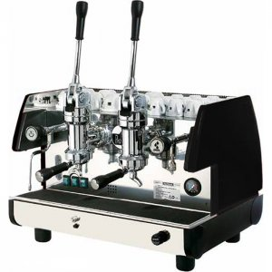 La Pavoni Bar T L 2 group espresso machine side view silver and black model