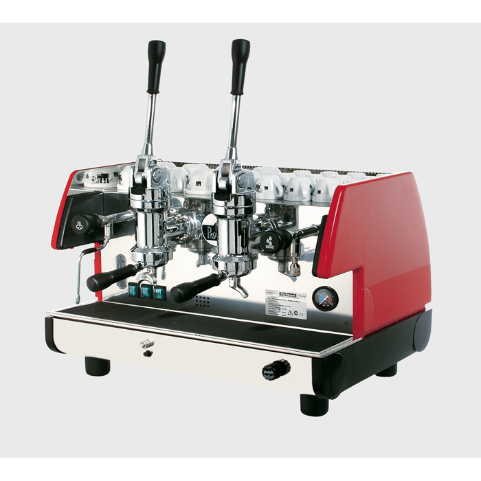 La Pavoni Bar T M 2 Group espresso machine Side View Silver and Red Model