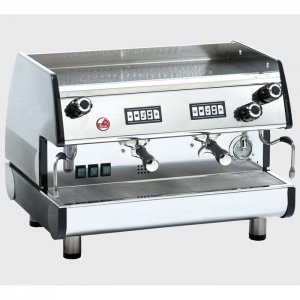 La Pavoni Bar T VR 2 group espresso machine side view silver model