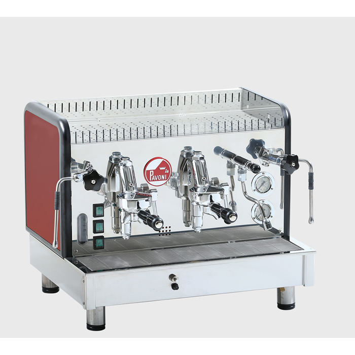 La Pavoni Crema Espresso Coffee Machine 2 group silver with red side panel