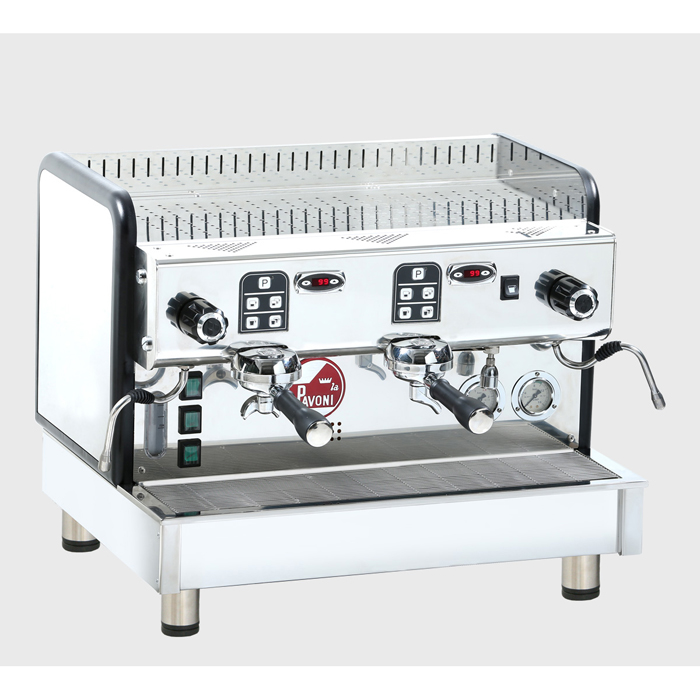 La pavoni Crema V PID barista style coffee machine 2 group silver model front side view