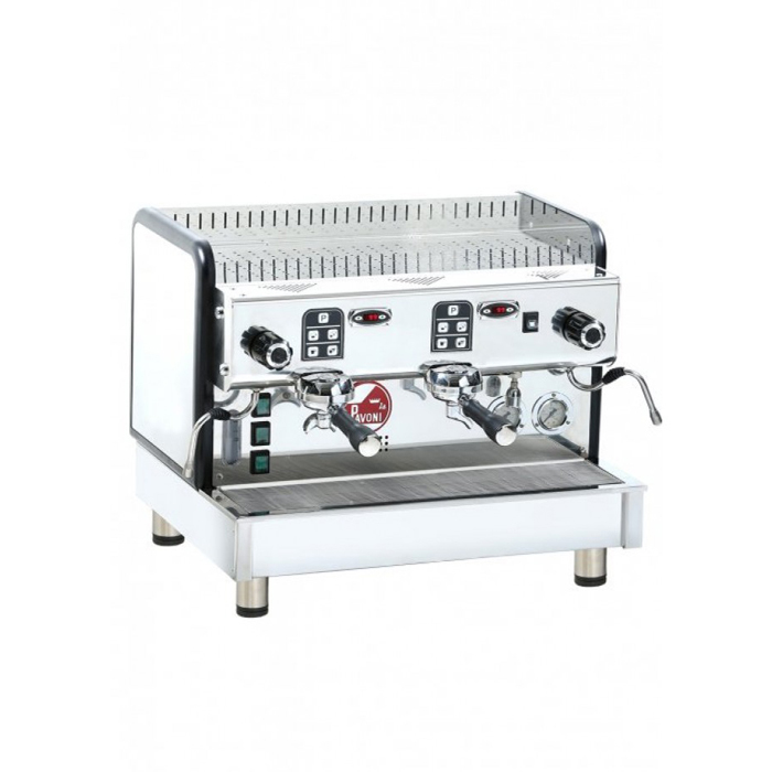 La Pavoni Crema V Barista Style Coffee Machine 2 group silver model side view