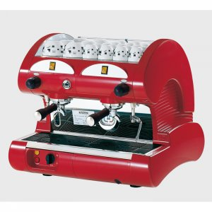 La Pavoni Hotel M 2 group espresso machine left side view red model