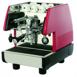 la pavoni pub ES barista style coffee machine 1 group silver black and red model left side view