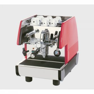 La Pavoni Pub S 1 Group Espresso Machine Side View red and silver model