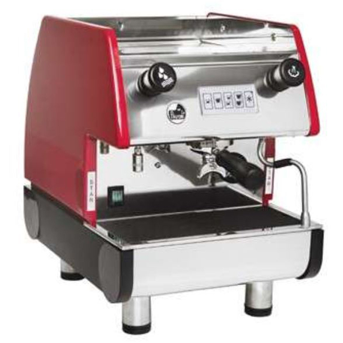 La Pavoni Pub V 1 group espresso machine right side view red and chrome model