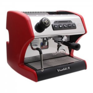 La Spaziale S1 Mini Vivaldi II 1 Group Espresso Machine Side View Red and Silver Model