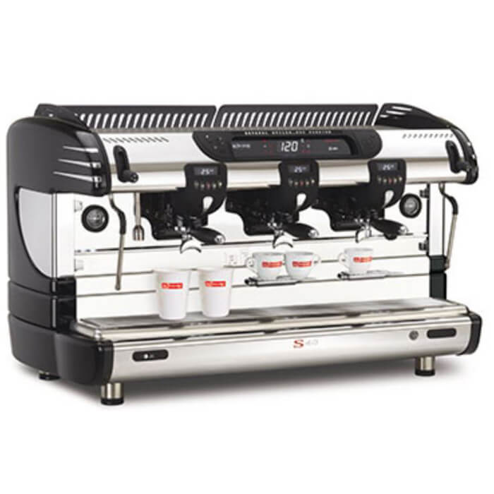 La Spaziale S40 Suprema 3 Group espresso machine Side View Black and Silver Model