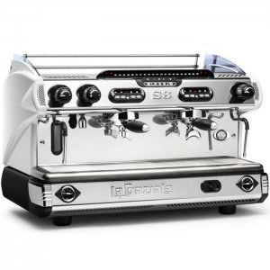 La Spaziale S8/S9 2 Group espresso machine Side View White and Chrome Model