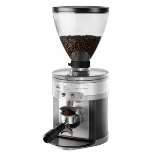Mahlkonig K30 Vario Front Whole Bean Coffee Grinder Side View Silver Model
