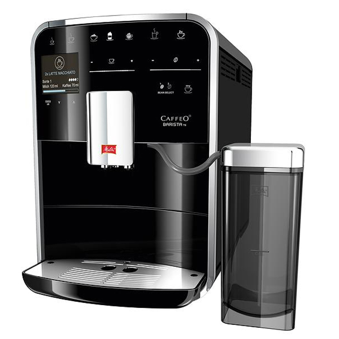 Melitta Caffeo Barista T-F730 bean to cup coffee machine black left side view