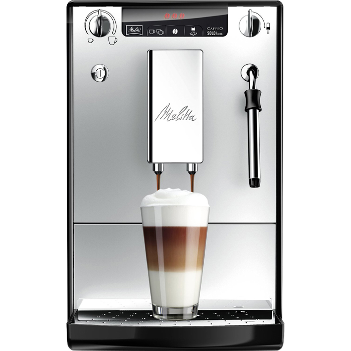 Melitta Caffeo Solo Milk E953 bean to cup coffee machine front view silver model