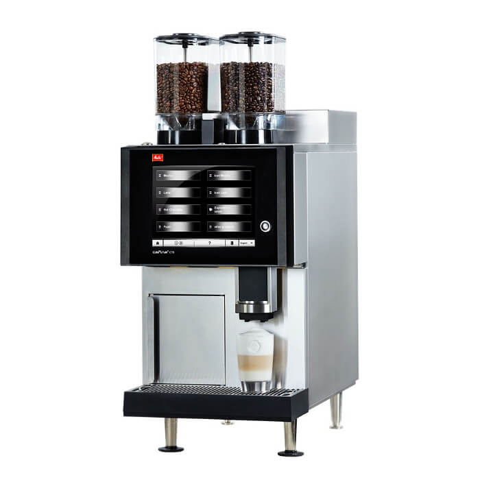 Melitta Cafina CT8 bean to cup coffee machine Side View Silver and Black Model