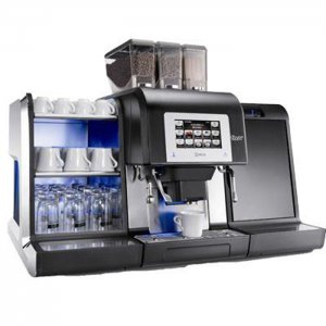 Necta Karisma bean to cup coffee machine with milk cooler and cup warmer side view black model