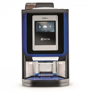 Necta Krea Touch bean to cup coffee machine front view with blue LED illumination black and silver model