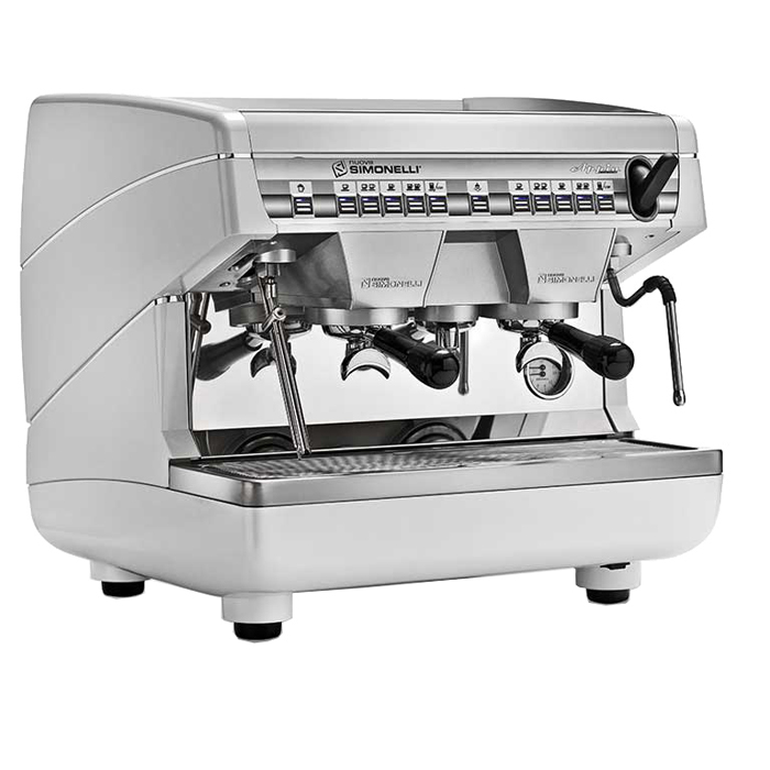 Nuova Simonelli Appia Compact 2 Group Espresso Machine Side View Silver Model