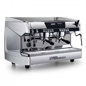 Nuova Simonelli Aurelia II 2 group espresso machine side view chrome model