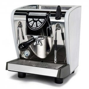 Nuova Simonelli Musica Lux 1 group espresso machine left side view chrome model