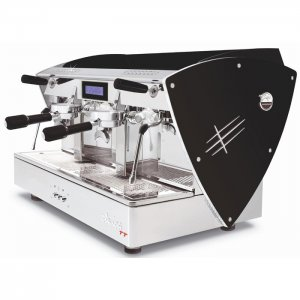 Orchestrale Etnica 2 group espresso machine left side view black and silver model