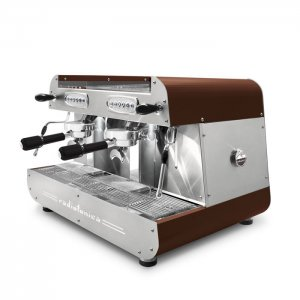 Orchestrale Radiofonica 2 group espresso machine side view brown and chrome model