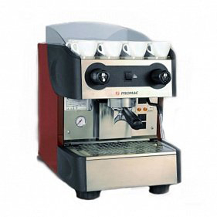 Promac Club PU 1 Group espresso coffee machine Side View red model