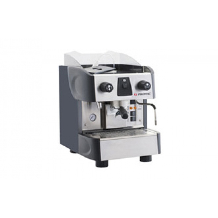 Promac Club PU/S 1 Group espresso coffee machine Side View black and silver model