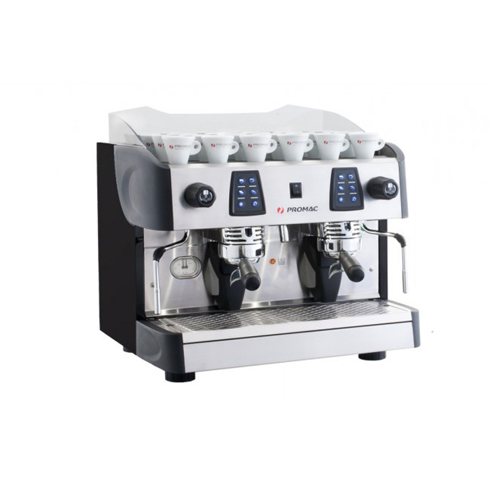 Promac Compact ME 2 Group espresso coffee machine Side View black silver and red model