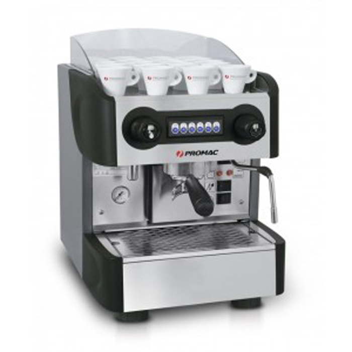 Promac Compact PU 1 group espresso machine side view silver and black model