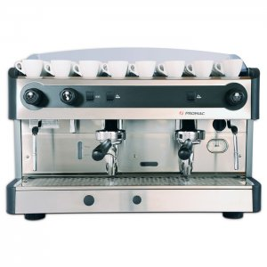 Promac Green PU 2 group espresso machine front view silver model