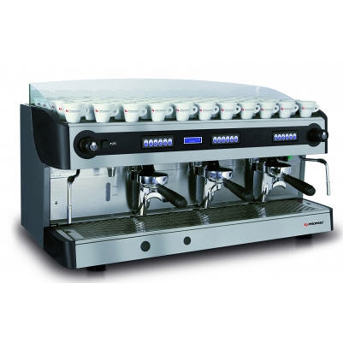 Promac Green Plus 3 group espresso machine right side view chrome model