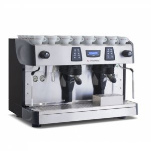 Promac Green Tall 2 Group espresso coffee machine Side View Silver Model