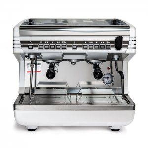 Qualita Belforte Autosteam 2 Group espresso coffee machine Front View Silver Model