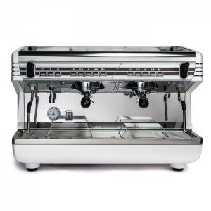 Qualita Belforte Grande 2 group espresso machine front view chrome model