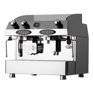 Qualita Valente Gas LPG 2 Group espresso coffee machine Side View Silver Model