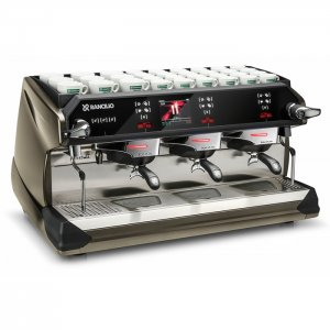 Rancilio Classe 11 3 Group espresso coffee machine Front-Side View black and grey model