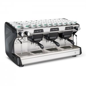 Rancilio Classe 5 3 Group espresso coffee machine Front-Side View Silver and Black Model