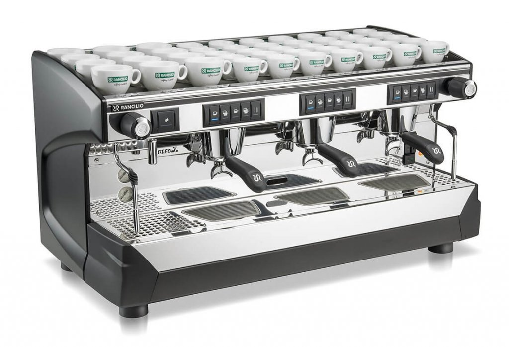 Rancilio Classe 7 Group 3 Barista Style Coffee Machine Silver and Black model side view